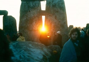 Winter solstice sunset at Stonehenge.